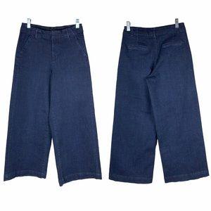Zara 🌵 High Waisted Dark Wash Wide Leg Culottes Cropped Jeans 2